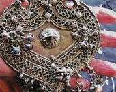 HUGE RARE Antique Solid Silver Shield Amulet Necklace w bells from Rajasthan India .Tribal, Ethnic,Gypsy, 'WA Street Team'