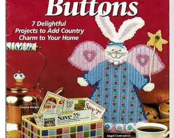 Country Bunnies & Buttons Plastic Canvas Pattern book House of White Birches 181037