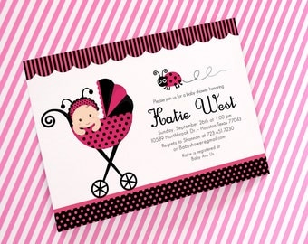 DIY PRINTABLE Invitation Card - Pink Lady Bug Baby Shower Invitation - BS815CB2a3