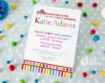 DIY PRINTABLE Invitation Card - Lollipop Candy Land Sweet Shoppe Baby Shower Invitation - BS832CA1a1