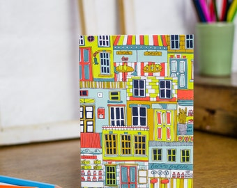 All-over Shopfronts greetings card. Architectural illustrations on stationery that has been designed and printed in the UK.