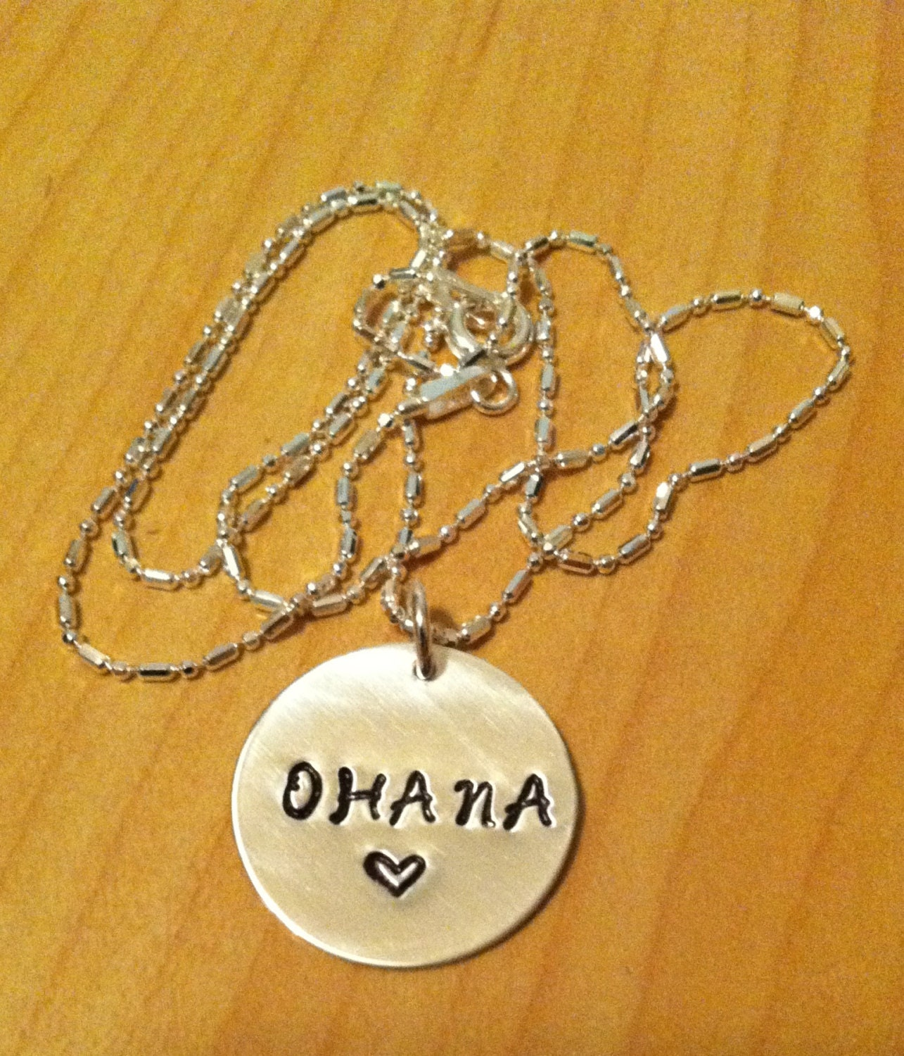 Ohana Sterling Silver Hand Stamped Necklace