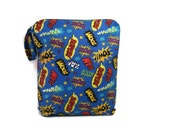 Super hero 12x15  wet bag swim suit pool beach bathing summer bag waterproof small cloth diaper water blue wetbag superhero personalized