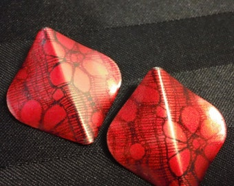 Vintage Red with Black Lace print bold 1980's post earrings