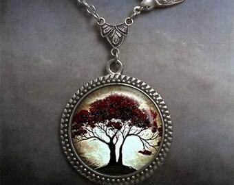 Moonlight Oak and Bird necklace, Moon jewelry, tree necklace, bird necklace, moonlight tree pendant oak necklace oak tree