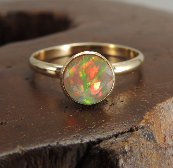 Items Similar To Opal Ring Exquisite Braided Opal: Items Similar To Opal Solid 14k Gold Ring, Opal Engagement