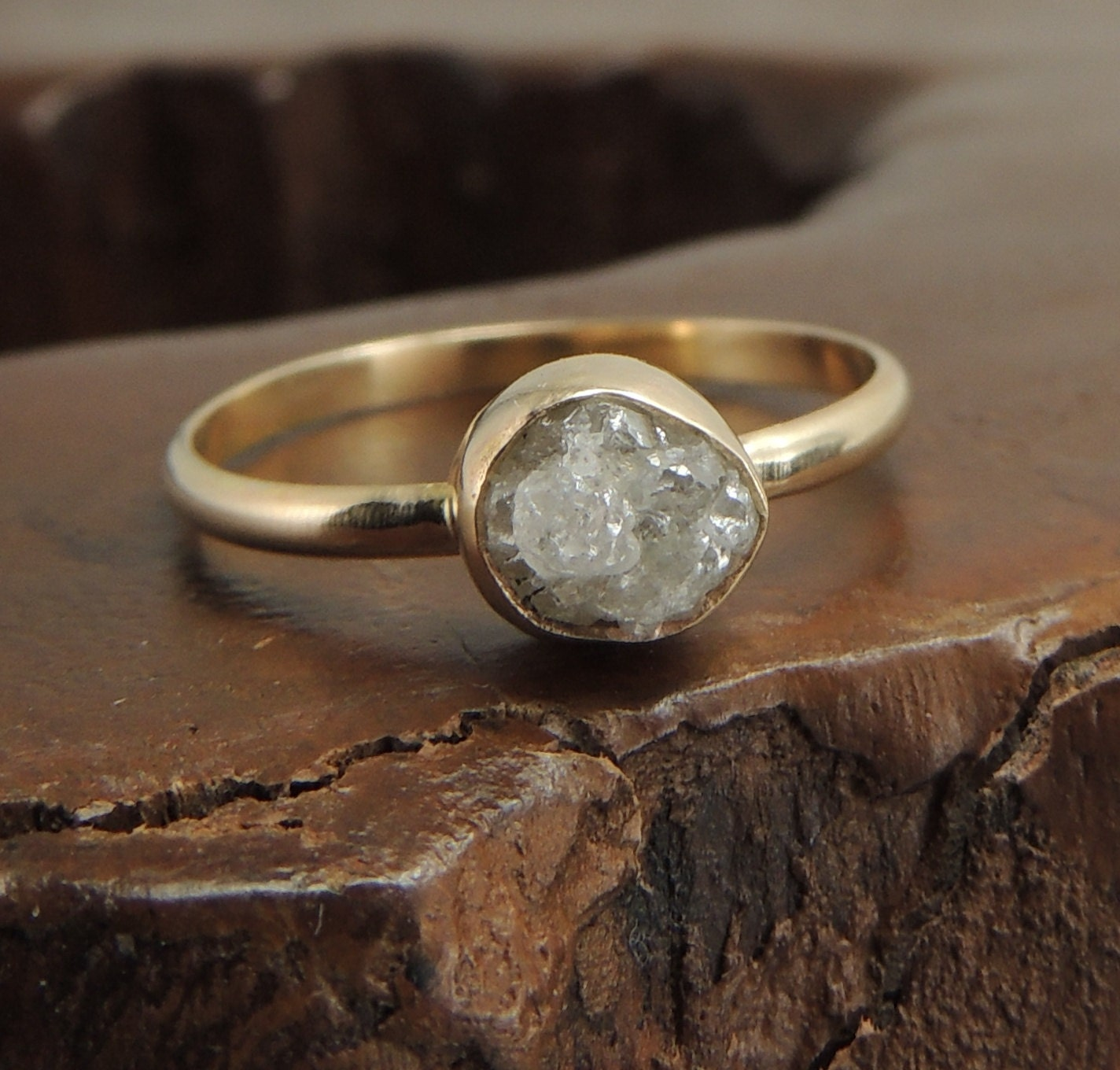 Large Rough Diamond Ring 14k Gold And White By