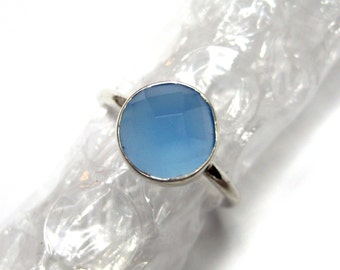 925 Sterling Silver Blue Chalcedony Ring , Fine Quality Chekker cut Faceted Round Shape gem stone Hand made Ring