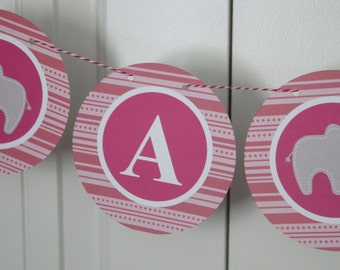 SAMPLE SALE - Mod Elephant Baby Shower New Baby It's a Girl Banner - Party Packs Available
