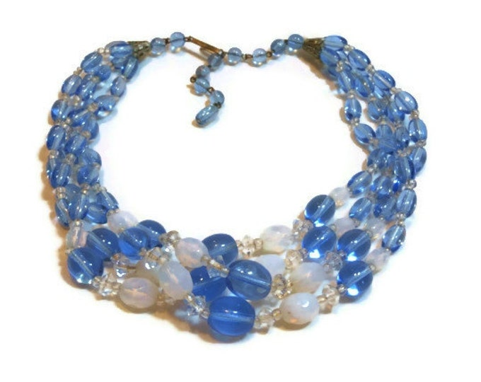 FREE SHIPPING Torsade glass beaded necklace, four strand choker, hand tied necklace, 1940s signed West Germany, blue white, wedding bride