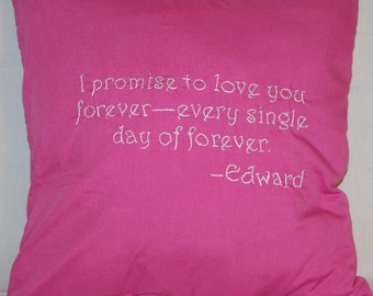 Twilight Inspired, Edward, I promise forever, Throw Pillow