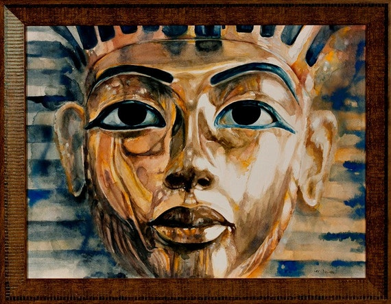 King Tut Framed Watercolor Painting of the Famous Egyptian