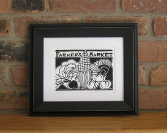 Farmer's Market original block print, open edition linocut, 5x7, black ink