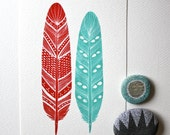 Watercolor Feather Painting - Archival Art Print - Malakai Feathers - red, turquoise, River Luna Art