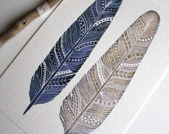 Patterned Feather Painting - Watercolor Art - Archival Print - Amethyst Feathers