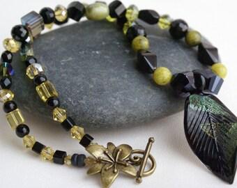 Black Artisan Glass Leaf Necklace