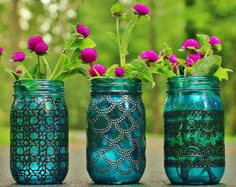 Bohemian Vases, Trio of Mason Jar Lanterns, Teal Blue Glass with Pewter and Black Detailing