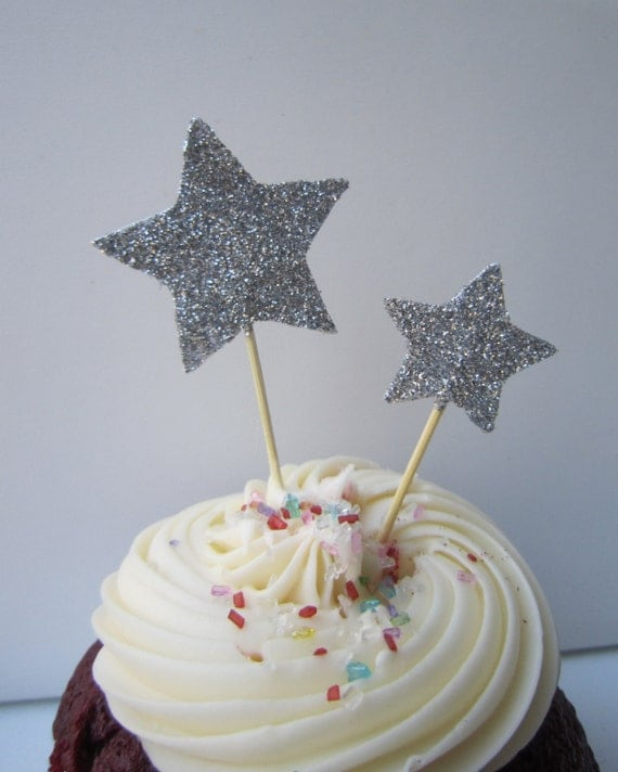 Silver Glitter Star Cupcake Toppers. Cake Decor. 20 Pieces.
