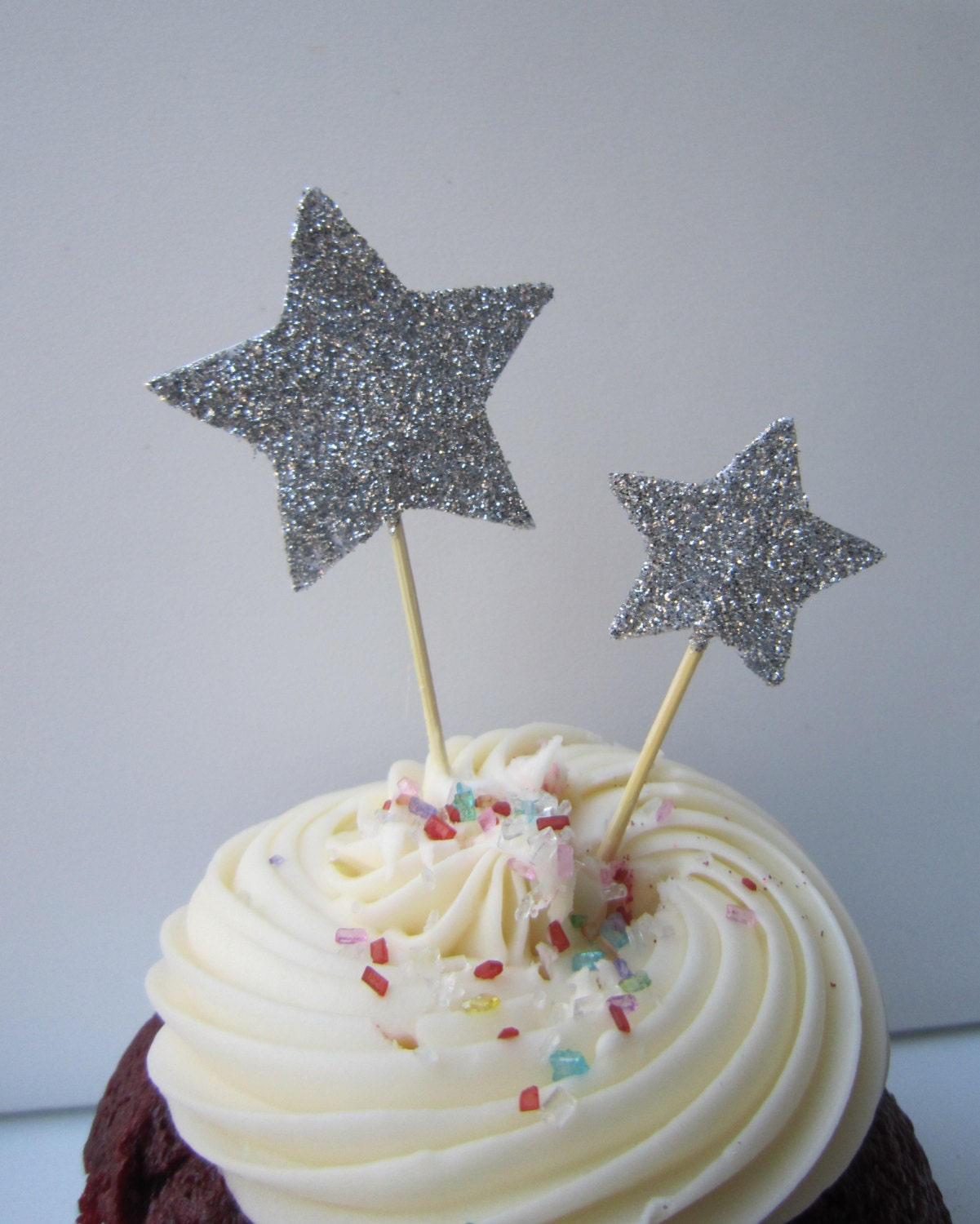 Silver Glitter Star Cupcake Toppers Cake Decor 20 Pieces