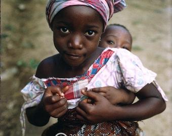 TWO SISTERS, African Original Fine Art Photograph of Bopolu, Liberia, West Africa