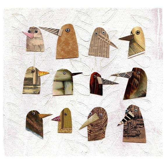 birds I have known 2, birds, bird heads, brown birds, mixed media birds, mixed media collage, mixed media print