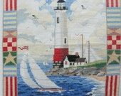 Finished Cross Stitched Lighthouse