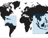 World Map decal - Map of the world A256