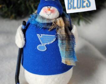 St. Louis Blues Fabric Snowman