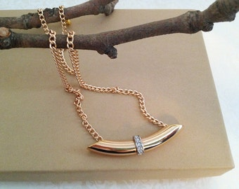 Vintage Gold Tube Pendant Necklace. Minimalist. Crystal Rhinestones. Gold Tone Chain. Gifts for Her. Modern. Simple.