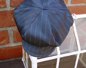 Blue Grey pinstripe newsboy hat, beret for boys, Great Gatsby beret hat, BERET HAT ONLY