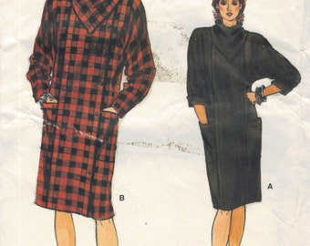 Vogue 80s Sewing Pattern New Wave Style Dress Kerchief Cowl Neck Straight Skirt Casual Dress Bust 32