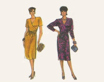 1980s Simplicity Sewing Pattern Classic Wrap Dress Long Short Sleeves Knee Length Uncut Easy to Sew Size 8 to 12 Bust 31 to 34