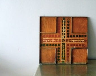 Antique Wooden Folk Art Game Board, Best Paint