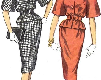 Simplicity 3371 1960s Misses Two Piece Suit Dress Vintage Sewing Pattern Size 14 Bust 34