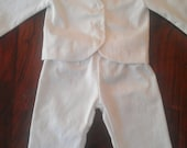 Baby Boy Baptism Outfit, Christening, Blessing, White Outfit, Suit Jacket, Pants, and Bow Tie Onesie