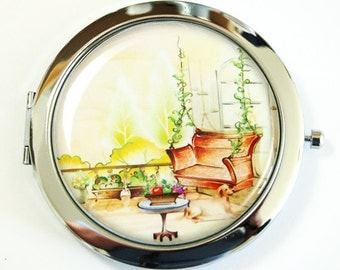 Compact mirror, Provence, gift for her, mirror for purse, mirror, Landscape, Europe, pretty compact mirror, gift for her (2529)