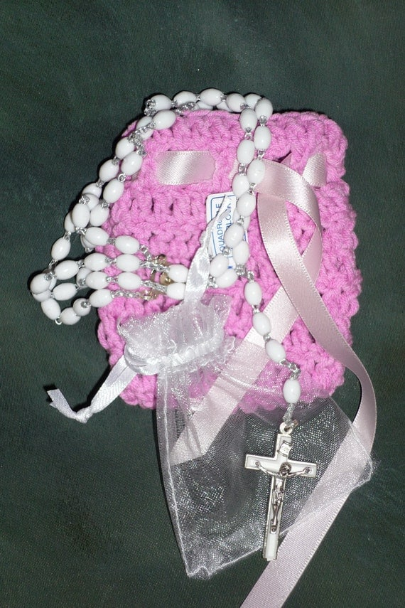 Items similar to Crochet pouch with Rosary beads in ...