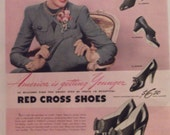 RED CROSS SHOES Original Vintage 1940 Shoe Advertisement Additional Ads Ship Free Ready To Frame