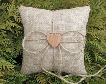 Natural Rustic Burlap Ring Bearer Pillows - Personalized For Your Wedding Day - Set of 2