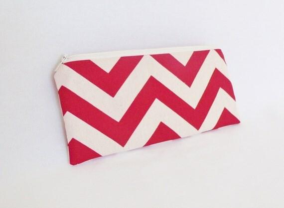 Red Chevron Pencil Bag - Make Up Bag