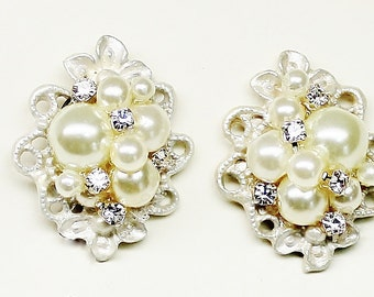 Pearl stud earrings- Vintage-Inspired Statement Studs- Art Deco Bridal Earrings- Pearl Bridal Earrings- Pearl post earrings- Vintage Glam