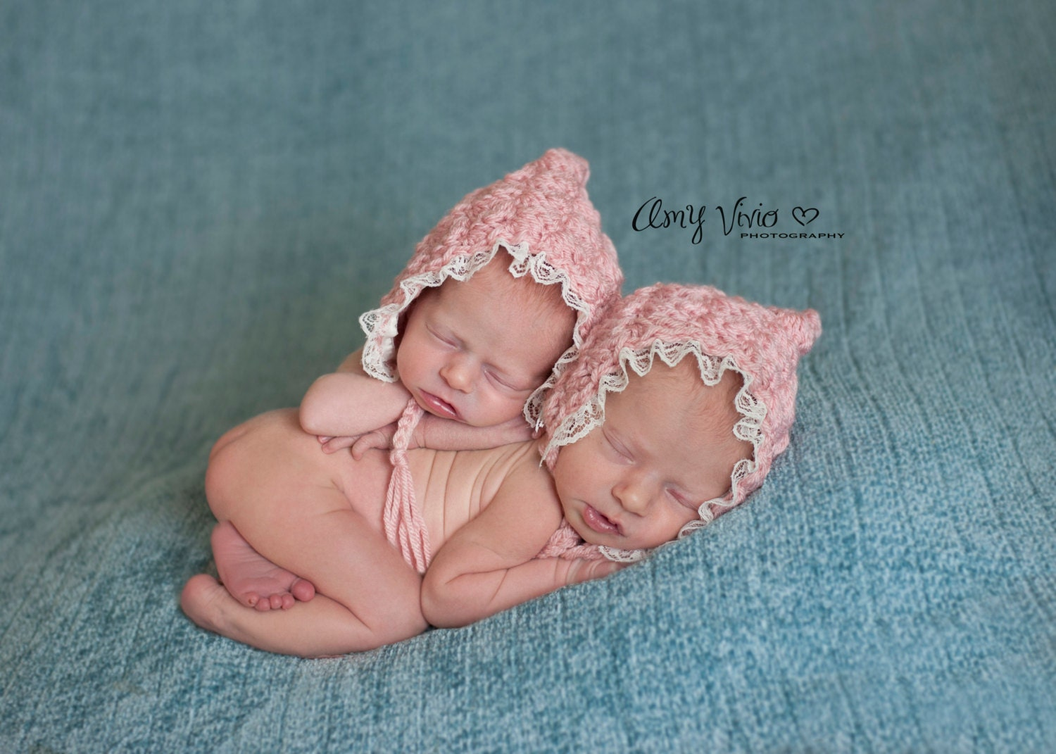 Newborn Twin Girls Hats / Pink Pixie Bonnets perfect for BABY - Baby Boy Dresses 0-3 Months