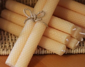 Beeswax Candles Hand Rolled - Set of 2 Ivory Color / Eco Friendly / Crude Oil Free / Perfect Gift