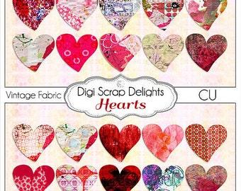 Digital Vintage Ephemera Altered Hearts Mixed Media Clip Art for Digital Scrapbook Embellishment or Collage Sheet, Instant Download