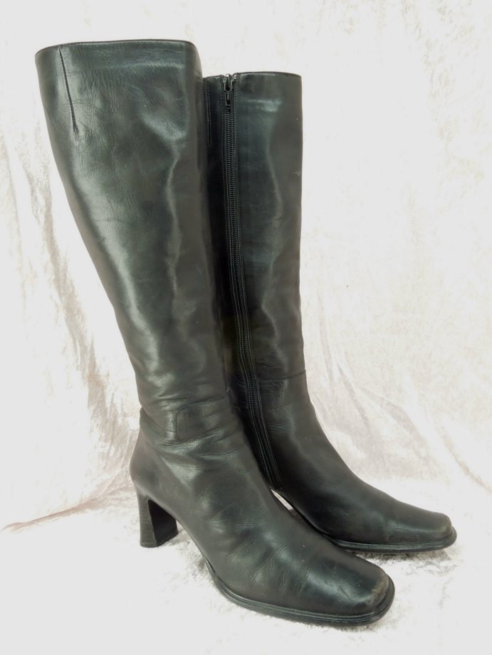 womens black leather boots via spiga size 7 1 2 by