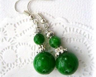 Green Earrings - Jade Dangle Earrings - Handmade Fashion Jewelry