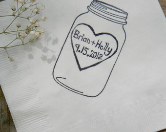 Rustic Personalized White Mason Jar Napkins Wedding Dinner Napkins with Large Heart Couples Names and Wedding Date- set of 50