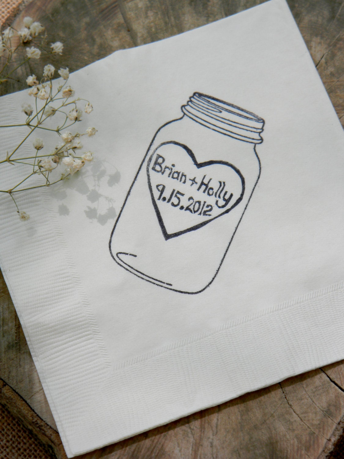 Rustic Personalized White Mason Jar Napkins Wedding Dinner