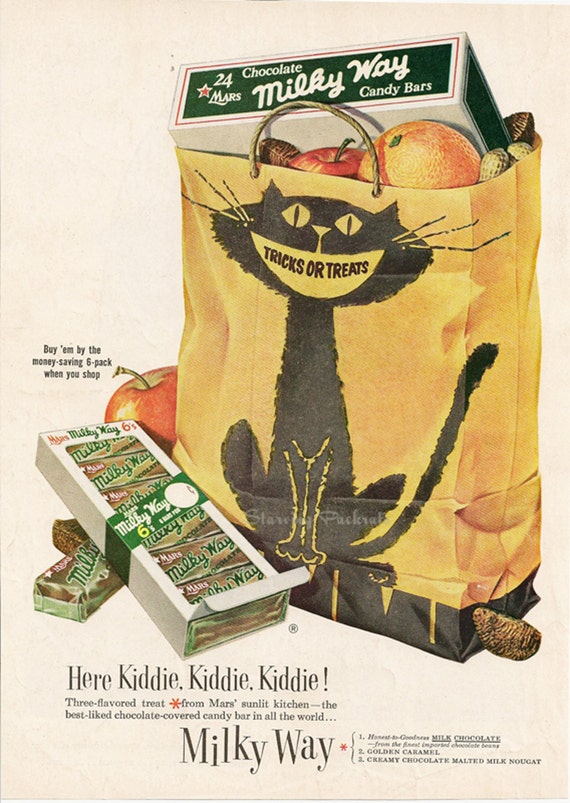 Retro Kitchen Decor Halloween Black Cat Bag & Candy Milky Way Vintage 1950s Print Advertising