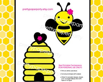 Printable Bumble Bee Centerpiece Set - personal use only